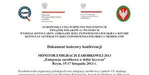 Dokument koncowy _Monitor Emigracji Zarobkowej 2013 Rzym