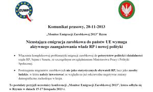 Komunikat prasowy Monitor Emigracji Zarobkowej Rzym 2013